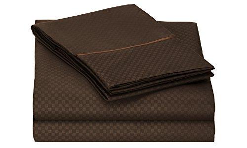 Cotton Sheet Set Emb - Clara Clark Checkerboard Design Embossed Sheet Set, Queen, Chocolate