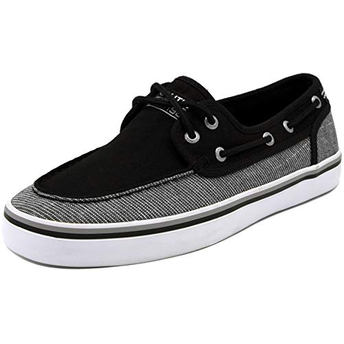 Nautica Men's Spinnaker Lace-Up Boat Shoe, Casual Loafer, Fashion Sneaker-Black Linen Stripe-8