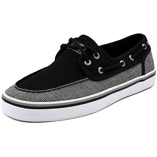 Nautica Men's Spinnaker Lace-Up Boat Shoe, Casual Loafer, Fashion Sneaker-Black Linen Stripe-9.5