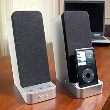 Silver iHome iP71 Computer Stereo System with Dock for iPhone//iPod