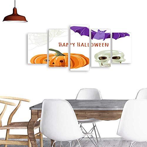 Modern PaintingsSet of Halloween symbols orange pumpkin bat skull spiderweb Collection for design on white background digital draw flat illustration vector. Home Furnishing Decorative Background Wall ()