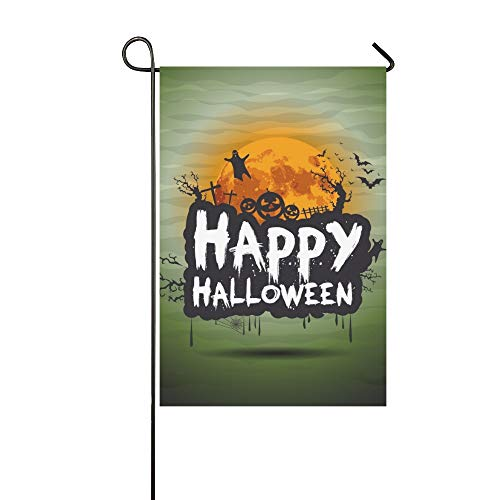 WBSNDB Home Decorative Outdoor Double Sided Halloween Night Sign Garden Flag,House Yard Flag,Garden Yard Decorations,Seasonal Welcome Outdoor Flag 12 X 18 Inch Spring Summer Gift ()
