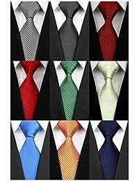Lot 9 PCS Classic Men's tie 100% Silk Tie Woven Jacquard Neckties Solid Ties for men