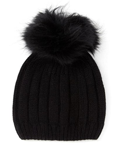 Miuk Women's 100% Pure Cashmere Basic Knit Hat With A Woobies Black