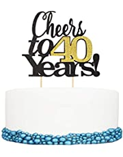 Cheers to 40 Years Happy Birthday Cake Topper 40th Anniversary Birthday Party Decor Supplies