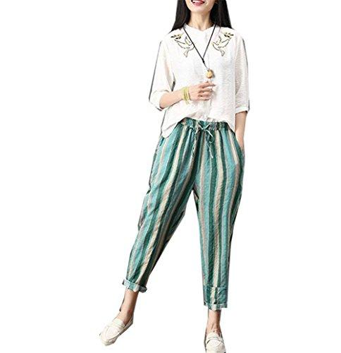 Pantalon Vintage Tela Libre Mujer Lino Fashion Streifen Casuales Mujeres Pantalones Harem Verano Cómodo Tiempo De Flecos Ocasional Anchas Elastische Elegantes Grün Taille qdFxwdHP4