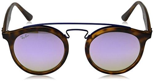 Ray-Ban Injected Unisex Round Sunglasses, Matte Havana / Mirror Gradient Lillac, 49 mm