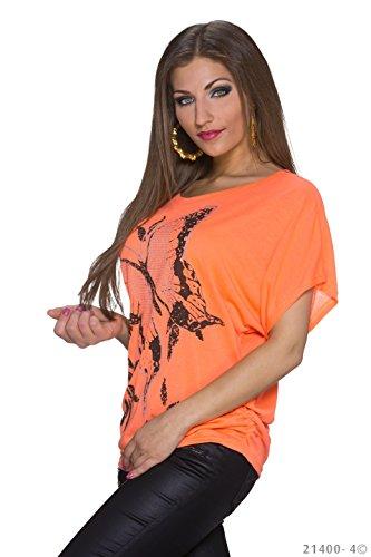 Femme Courtes Aucun keine Chemisier Orange Manches keine Motif 7ABXxIqI