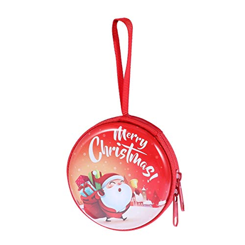 BESTOYARD 5PCS Christmas Earbud Box Round Coin Purse Mini Zipper Wallet Santa Claus Storage Box Christmas Party Gift (Red)