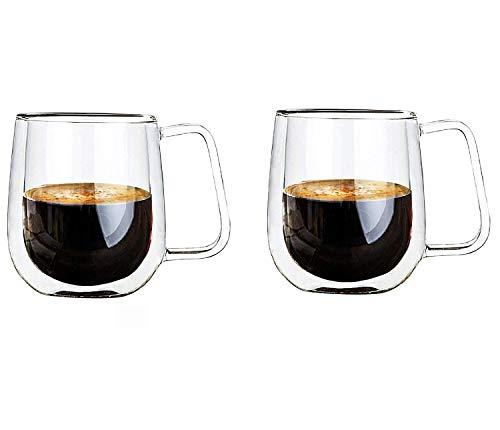 Vicloon dubbelwandige glazen mokken, kopjes van borosilicaatglas, voor thee, koffie, latte, cappuccino, espresso, bier…