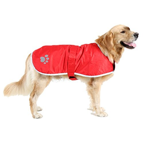 OHF Waterproof Dog Coat Quilted Reflective Cloak Soft Cozy Outdoor Raincoat Blanket Coat(4 Colors 5 Sizes) (Red, L)