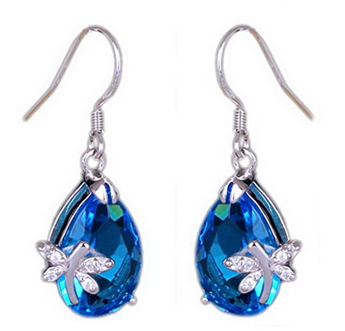 Dragonfly Silver Plated (Bigood Pretty Blue Water Drop Crystal Dragonfly Silver Plated Stud Dangle Earings Eardrop)