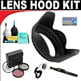 Pro Digital Hard Lens Hood + High Resolution 3-piece Filter Set (UV, Fluorescent, Polarizer) + 6-Piece Deluxe Cleaning K