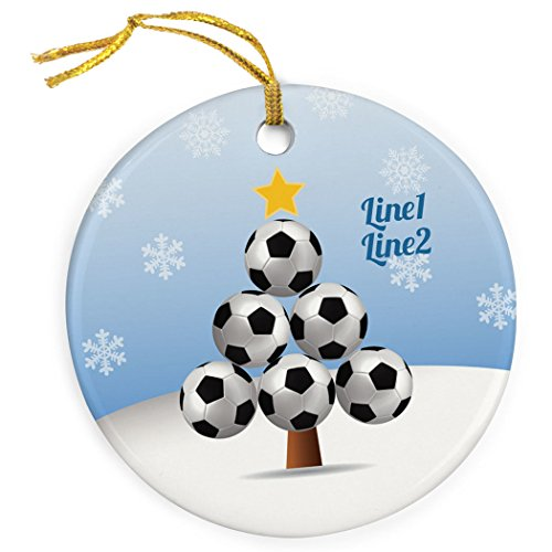 ChalkTalkSPORTS Personalized Soccer Porcelain Ornament | Soccer Ball Christmas Tree Ornament