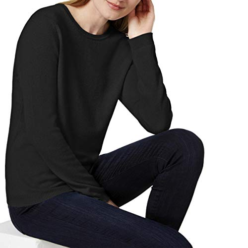 Charter Club Womens Petites Cashmere Long Sleeves Pullover Sweater Black P ()