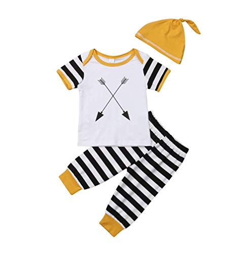 Baby Boys 3pcs Long Sleeve Tops with Striped Leggings and Hat Outfit Set Newborn Clothes (Yellow, 0-6 Months) ()