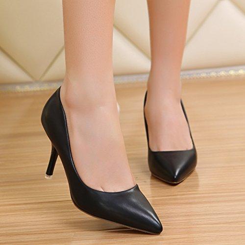Tacones Princesa De Zapatos La Zapatos Zapatos Solo Luz De De Punta La Boquilla Blancos Color Primavera Bare Con Negro Boda Trabajo Fina GAOLIM Negro 6cm Pwqf5n