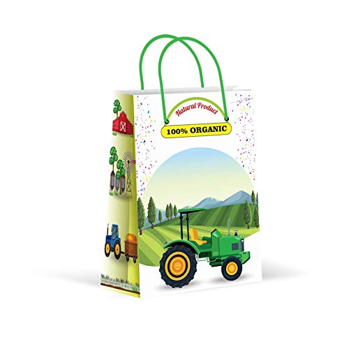 Premium Green Tractor Party Bags, Farm Party Favor Bags, New, Treat Bags, Gift Bags, Goody Bags, Party Favors, Party Supplies, Decorations, 12 Pack (Tractor Gift Bag)