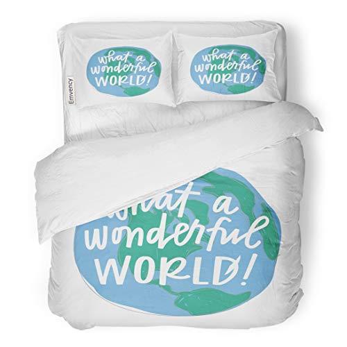 Emvency Bedding Duvet Cover Set Cursive What Wonderful World Drawing Globe Hand Lettering Lyrics 3 Piece King 104