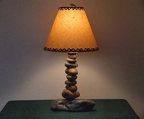 Rustic Cabin/Lodge Style Lamp..The Clearwater Tall Stone Lamp w/12'' Parchment Shade by Clearwater Cabin Living
