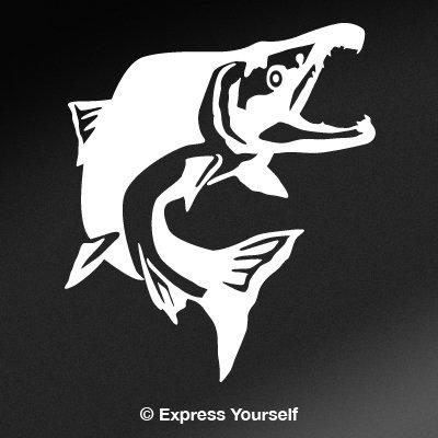 Jumping Salmon - Sockeye Salmon Jump (White - Reverse Image - Large) Decal Sticker - Freshwater Fish Collection