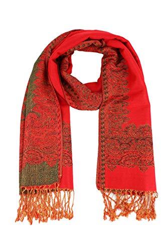 - Paskmlna Border Pattern Double Layered Reversible Woven Pashmina Shawl Scarf Wrap Stole (#02red)