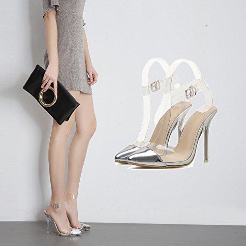 el Tira Plata Puntos Mujer Ultra Verano de Hueco Transparente con Nueva ZHZNVX como Celosía La Sandalias Calzado de Eran la 39 Que Tw4RFqO