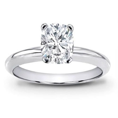 aire Diamond Engagement Ring Cushion Cut ( H Color SI2 Clarity 0.51 ctw) - Size 9.5 (14k White Gold Stock)