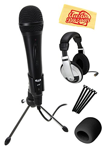 (CAD U4F USB Dynamic Recording Microphone - Black Bundle with Headphones, Cable Ties, and Austin Bazaar Polishing Cloth)