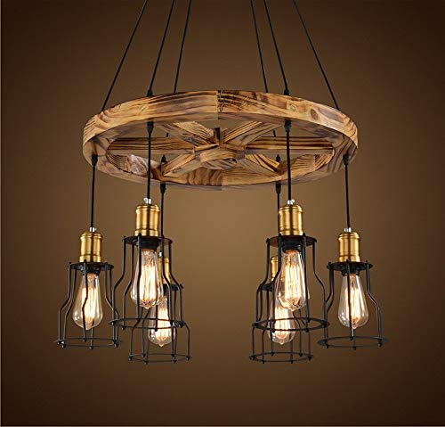 V.JUST 6 Lamps Wooden Chandelier, Retro Ceiling Light Industrial Creative Nostalgic Bar Coffee Restaurant Helmsman ()