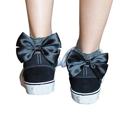 Price comparison product image Fishnet Socks, Sexy Women Socks Shine Bow-not Ankle High Socks Mesh Short Socks (Black)