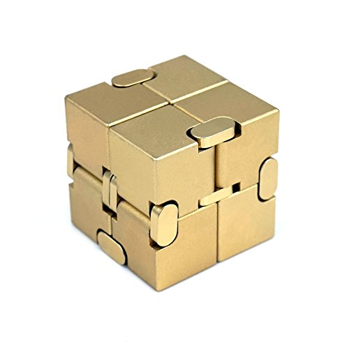 Metal Infinity Cube, Gazeto Durable Aluminum Alloy Decompression Toys, Pressure Reduction Educational Toys Stress Relief Toy Games Square Cube for Adult and Children Gold
