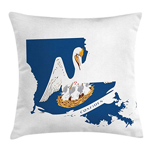 lsrIYzy Louisiana Throw Pillow Cushion Cover, Pelican State Flag Map Union Justice Confidence, Decorative Square Accent Pillow Case, 18 X 18 Inches, Cobalt Blue White Pale Coffee Earth Yellow