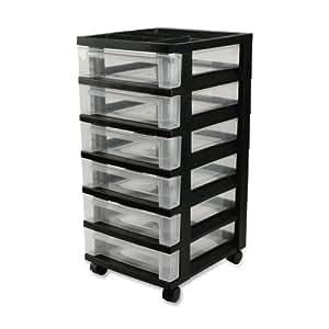iris 6 drawer rolling storage cart with organizer top black home kitchen. Black Bedroom Furniture Sets. Home Design Ideas