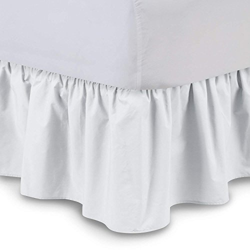 - Ruffled Bedskirts - Cotton Bedskirt (Twin, White) 21 Inch Bed Skirt with Platform, Wrinkle and Fade Resistant