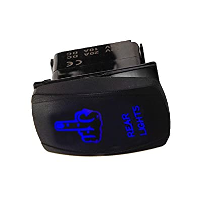 ESUPPORT Car 12V 20A Laser Light Button Rocker Toggle Switch Blue LED Rear Light ON OFF 5Pin: Automotive
