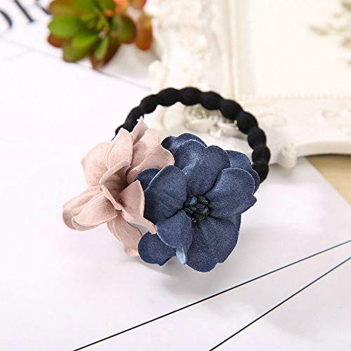 Scout Flower Ring - MOPOLIS Elastic Hair Ring Flower Hair Rubber Rope Bands Cloth Headbands Hair Accessories | Color - Navy+Pink