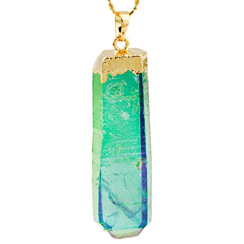 SUNYIK Green Angel Aura Quartz Pendant,Raw Point Rock Crystal Necklace,Titanium Healing Jewelry