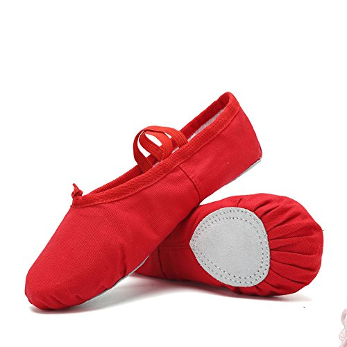 CIOR-Ballet-Slippers-For-Girls-Classic-Split-Sole-Canvas-Dance-Gymnastics-Yoga-Shoes-FlatsToddlerLittle-KidBig-KidWomen-VTW01-2Red39