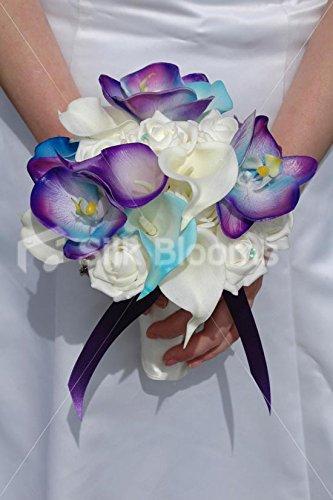Galaxy Blue Orchid, Lily & Rose Tropical Bridal Wedding Bouquet Silk Blooms Ltd 7515