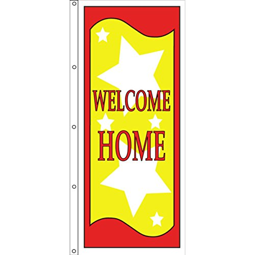 Vertical Welcome Home Flag, Stars, 3' x 8'
