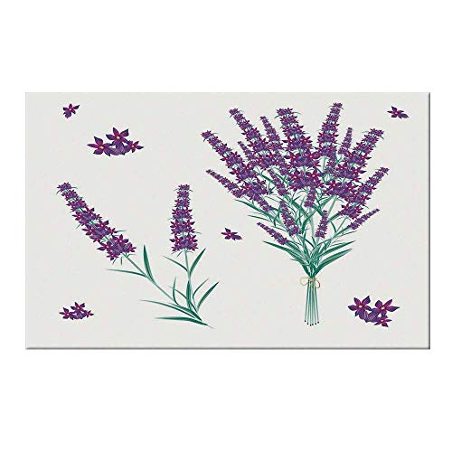 YOLIYANA Lavender Durable Door Mat,Aromatic Blossoms Bouquet from Provence France Fragrant Herbal Flora Decorative for Home Office,15.7