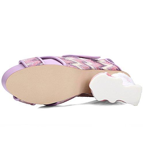 Nine Seven Cuero Moda Plataforma Puntera Abierta Zapatos de Tacón Alto con Velcro para Mujer Violeta