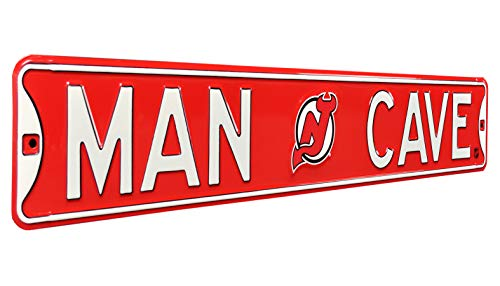 "Authentic Street Signs 28145 NHL New Jersey Devils Man Cave, Heavy Duty, Metal Street Sign Wall Decor, 36"" x 6"", Team Color from Authentic Street Signs"