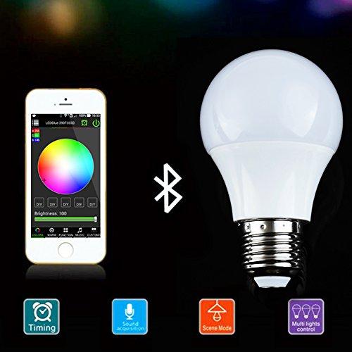 LED Lampadina, Smart Wireless Bluetooth Multicolore, cambiamento di colore per Apple iPhone, iPad e telefoni Android, E27 Base globo, perfetta contro diverse scene e ristrutturazione casa