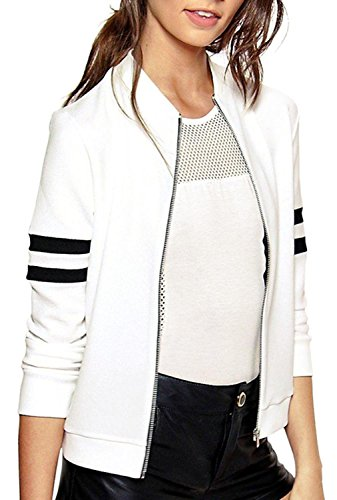 IF FEEL Women's Classic Stripe Detail Baseboll Jacket ((US 14-16)XL, - Brands Dolce And Like Gabbana