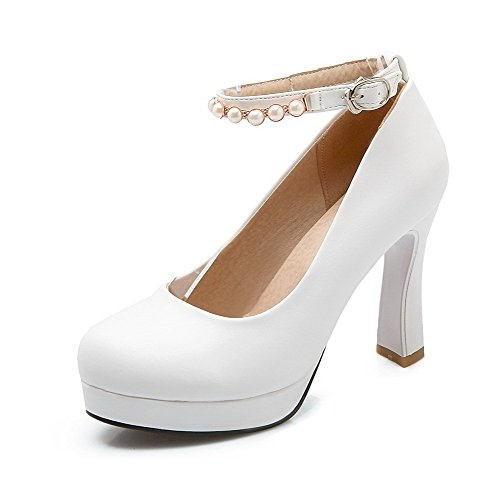 AmoonyFashion Womens Solid PU High-Heels Round Toe Buckle Pumps-Shoes White bRWomPx