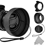 MISUD 58mm Lens Hood Set Cameras Lens, Collapsible Rubber Hood, Reversible Tulip Flower Hood, Lens Cap and Cleaning Cloth