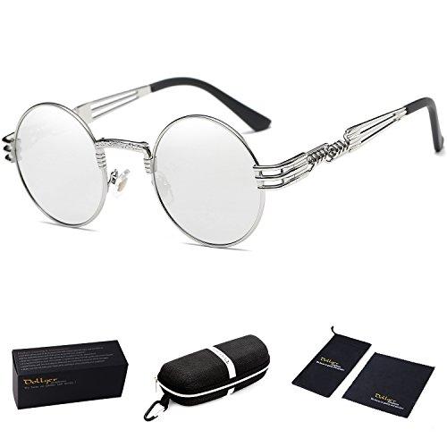 Dollger John Lennon Sunglasses Steampunk Circle Sunglasses Metal Frame Mirror Lens - Large Lennon Style Sunglasses