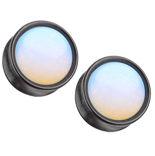 Ebony Natural - Pierced Owl Synthetic Opal Center Front-Facing Natural Ebony Wood Saddle Plugs, Sold as Pair (16mm (5/8
